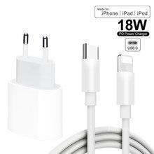 Câble de charge rapide 18W PD USB-C adaptateur de chargeur pour iPhone 12 11Pro Max XS iPad Mini Pro cordon de charge d'air chargeur de synchronisation de données