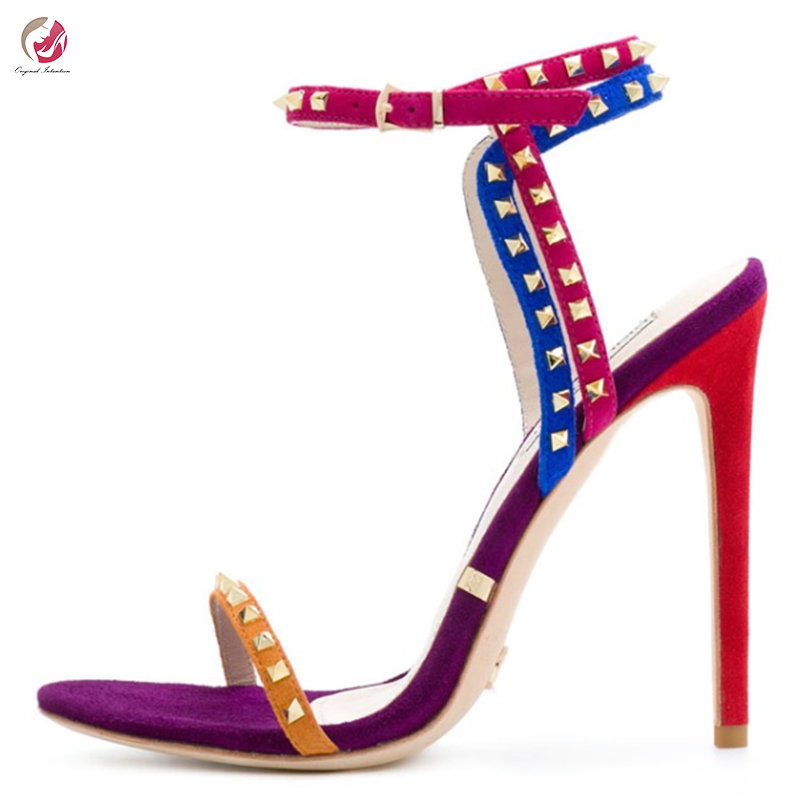 Original Intention New Stylish Mixed Colors Blue Red Sandals Woman Rivets Sexy Open Toe Thin High Heels Summer Shoes Female 4-15