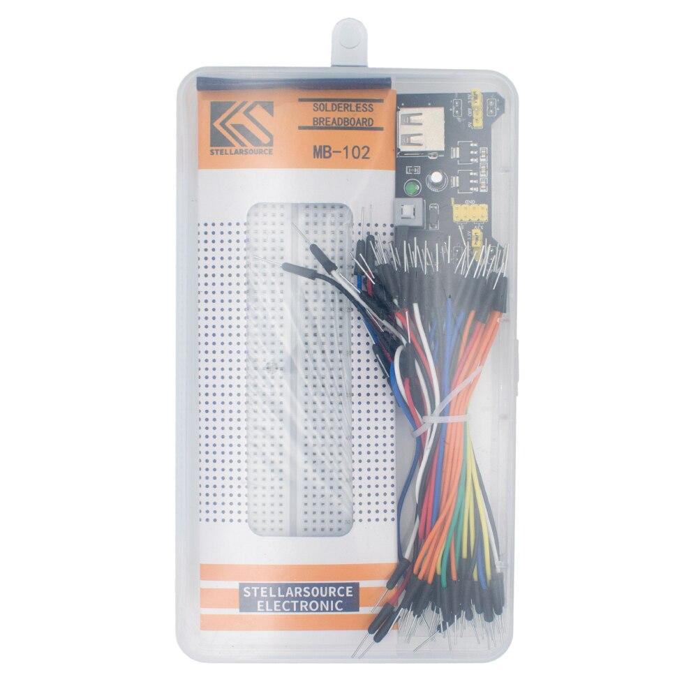3.3V/5V MB102 Breadboard power module+MB-102 830 points Solderless Prototype Bread board kit +65 Flexible jumper wires(China)