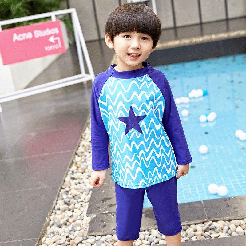 KID'S Swimwear BOY'S Cute Diving Suit Male Baby Long Sleeve Children Sun-resistant Split Type Two-Piece Set CHILDREN'S Swimsuit