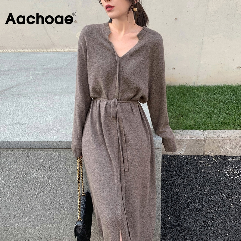 Aachoae Women Elegant Solid Midi Dress With Belt 2020 V Neck Korean Chic Dresses Long Sleeve Casual Knitted Sweater Dress Robe