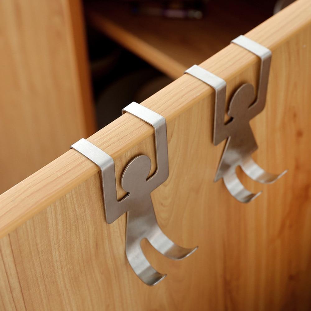2 шт. крючки в форме влюбленных из нержавеющей стали, кухонный шкаф, дверная стойка, вешалка для шкафа, стеллаж для хранения одежды за дверью