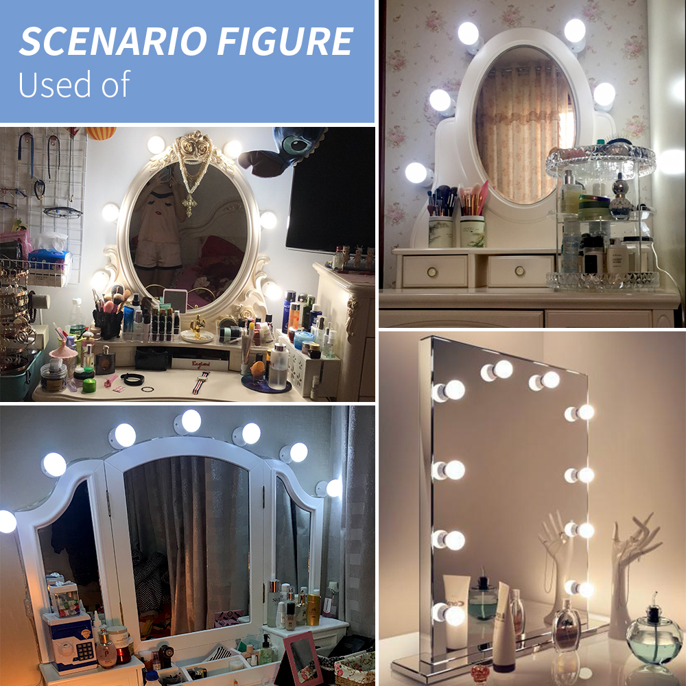 USB 12V Hollywood Vanity Mirror Bulbs Kit Led Makeup Light 3 Colors Dimmable Bathroom Cosmetic Mirror Wall Lamp Cosmetic Bulb 6