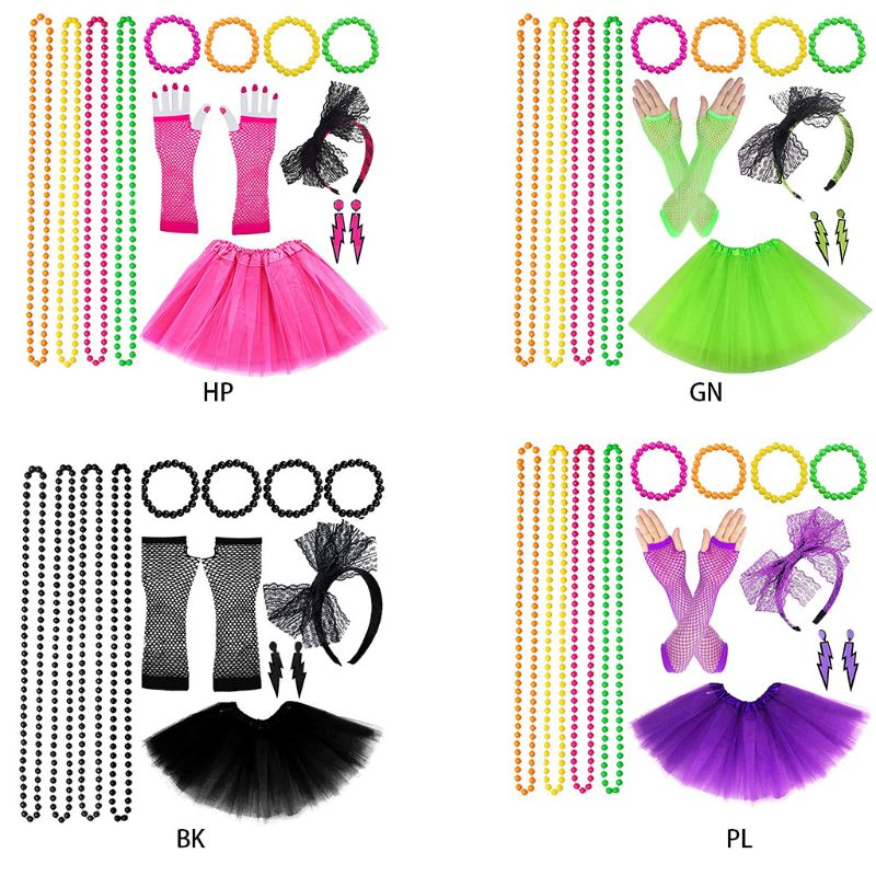 Women 80s Fancy Dress Accessories Retro Party Costume Set Adult Tutu Skirt Neon Fishnet Gloves Beaded Necklace Bracelet Earrings