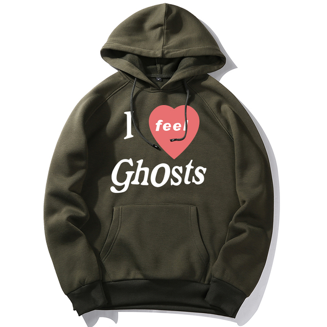 I feel Ghosts Print Men Harajuku Casual Pullover Hoodies Male Fashion Letter Print Hooded Sweatshirt Man Trend Street wear Tops|Hoodies & Sweatshirts|   -