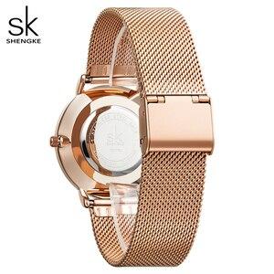 Image 5 - Shengke Vrouwen Mode Shell Creative Dial Japanse Quartz Horloge Lady Rosegoud Mesh Armband Waterdicht Horloge Montre Femme
