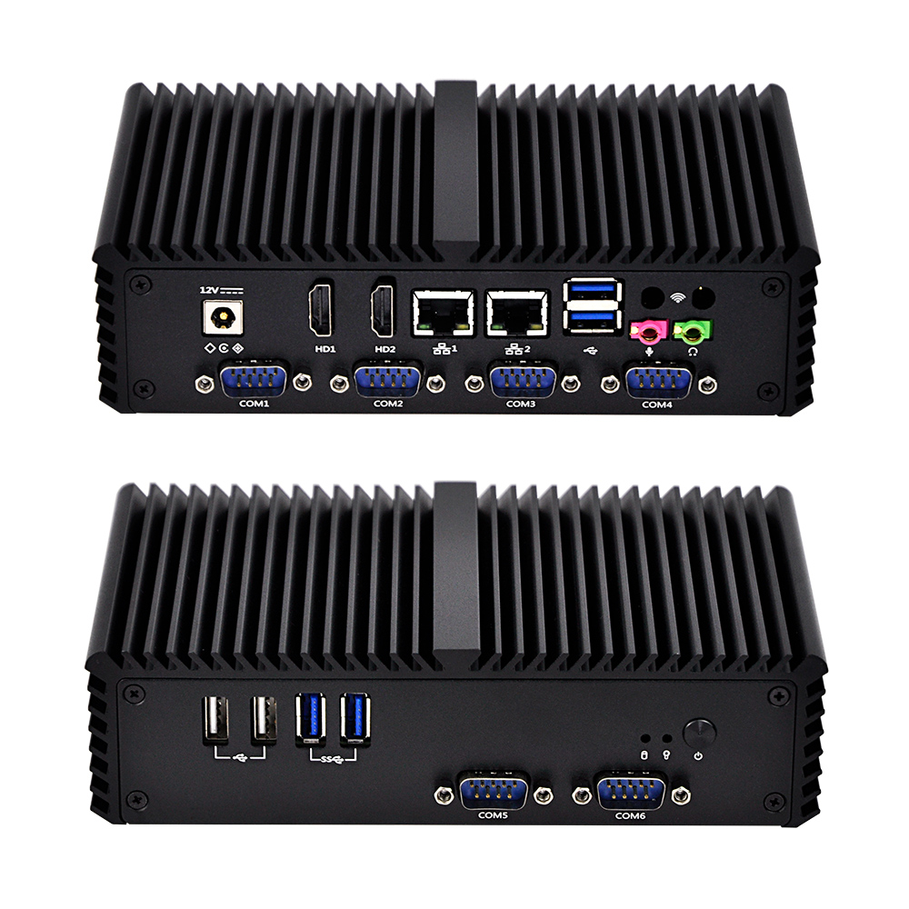 2019 Lastet New 6 RS232 Industrial Mini Computer With Core I3 I5 I7,QOTOM-Q300P,Fanless Dual Lan Pos Computer.