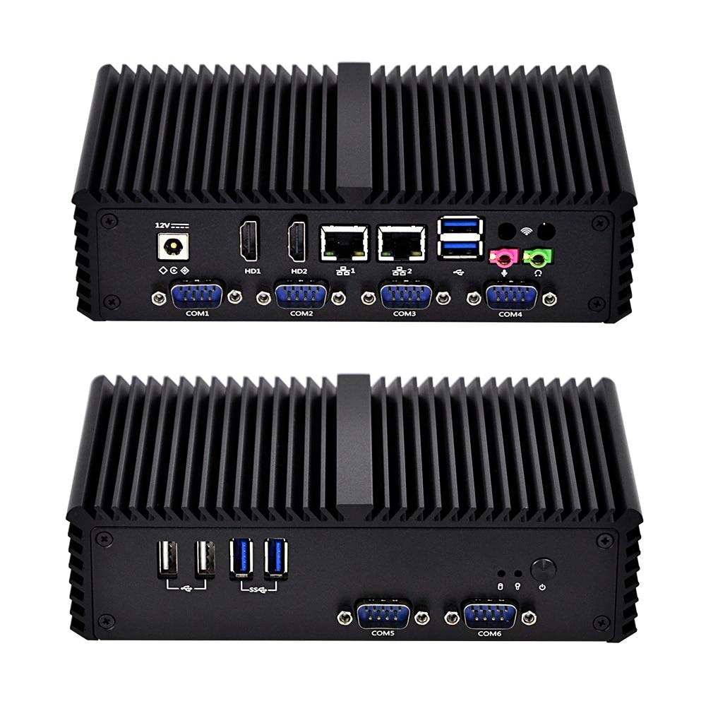 New Ubuntu 6 Com Port Fanless Linux Pos Computer With Core I3 I5 I7,Q300P AES NI X86 Dual LAN Mini PC