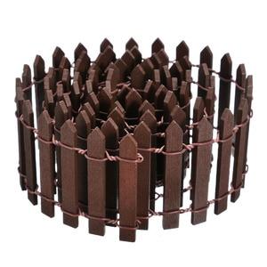 Image 5 - מיניאטורי עץ גידור Decors DIY פיות גן מיקרו בית בובות שערי התפאורה קישוט לבן/קפה צבעים 100*5cm/100*3cm