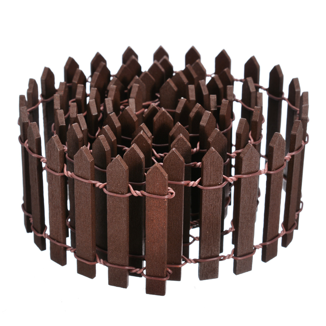Image 5 - Miniature Wood Fencing DIY Fairy Garden Micro Dollhouse Gates Decor Ornament White/Coffee Colors 100*5cm/100*3cm-in Fencing, Trellis & Gates from Home & Garden
