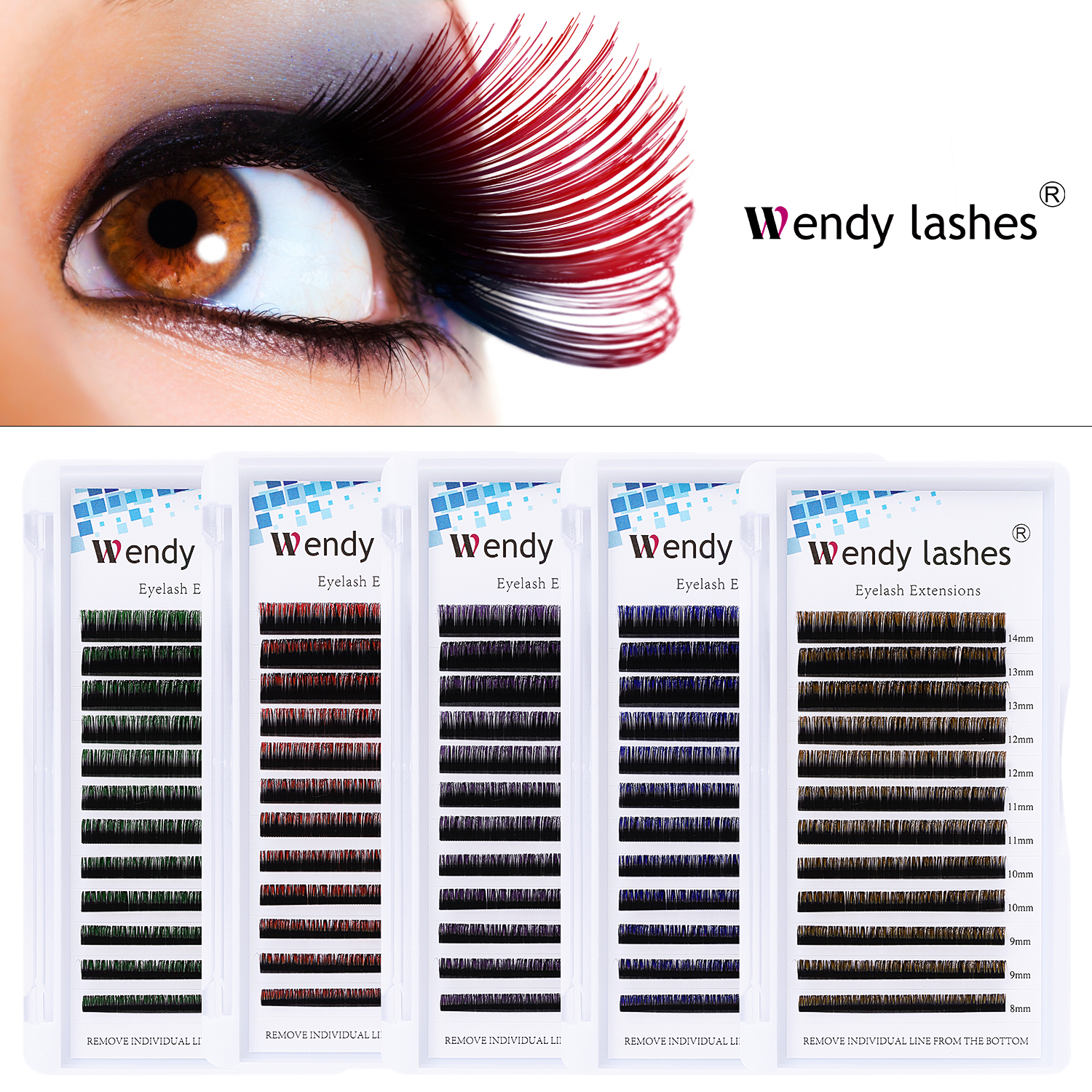 12 Row Ombre Red Green Brown Blue Classic Colored Eyelash Extension Individual Faux Mink Makeup Eye Lashes Professional Supplies