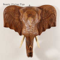 Classic wood color head wall decoration pendant Southeast Asian style living room porch elephant head wall hanging wall hanging