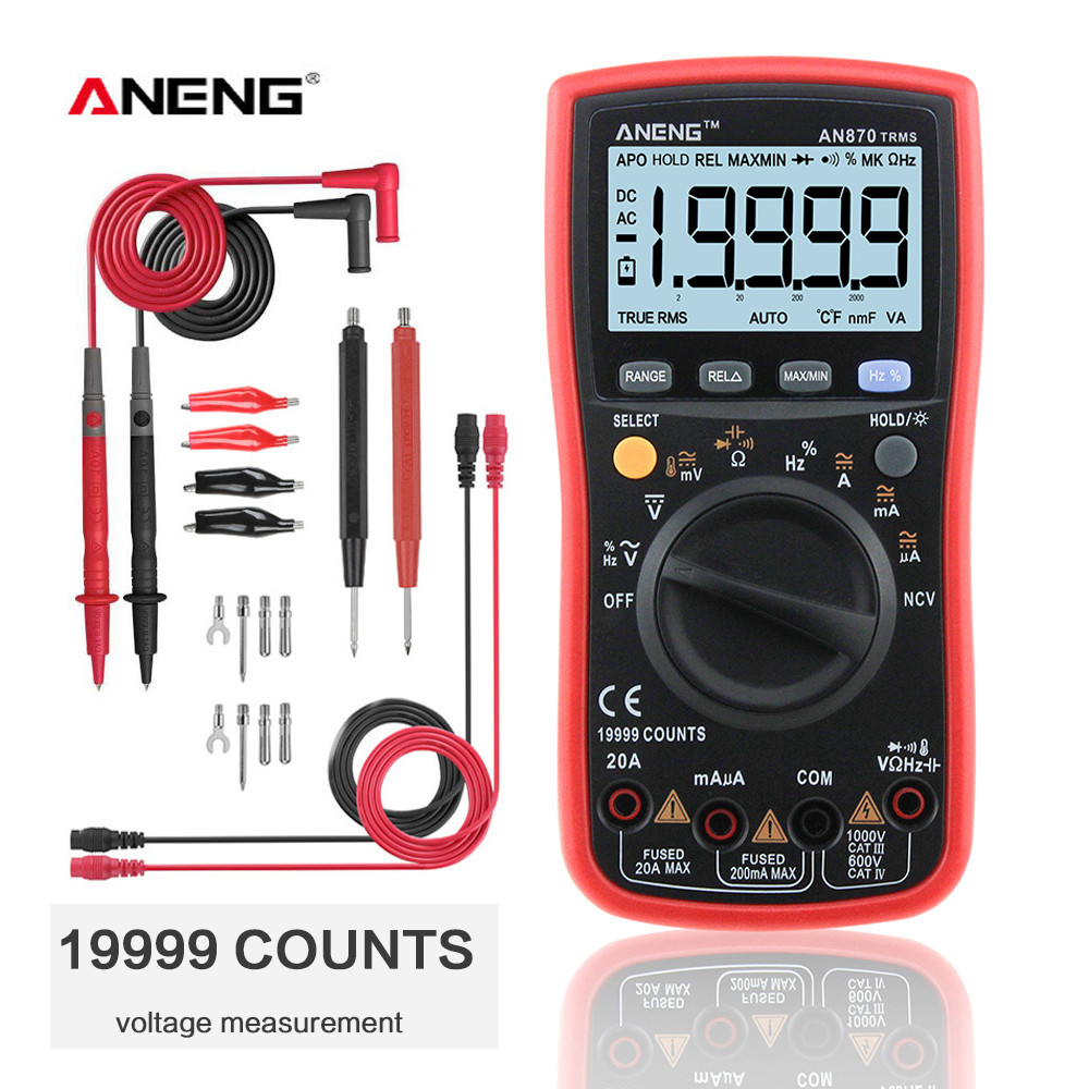 ANENG AN870  Digital Multimeter 19999 Counts True Rms Multimeter Transistor Tester Voltimetro Profesional Capacitance Meter