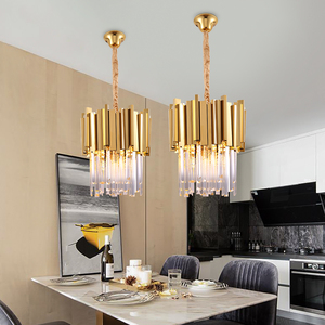Image 5 - Chrome/gold kitchen lights led chandelier lighting for dining room luxury foyer k9 crystal small round hanging lamp