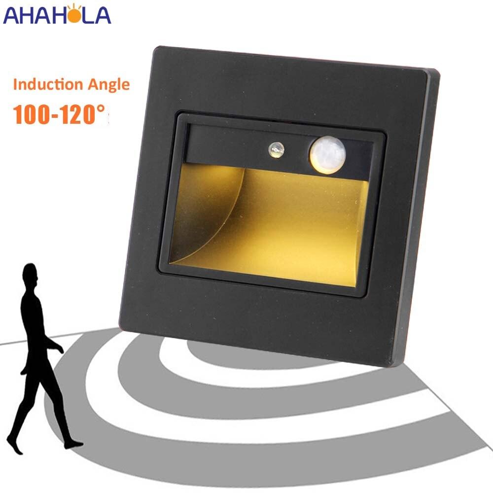 110V/220V Abs Automatic PIR Sensor Stair Led Light Step Bedroom Wall Led Light Indoor Led Staircase Lighting