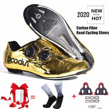 2020 novo tirano ouro estrada ciclismo sapatos de bicicleta de estrada auto-bloqueio sapatos de fibra de carbono ultraleve profissional sapatos de corrida 1