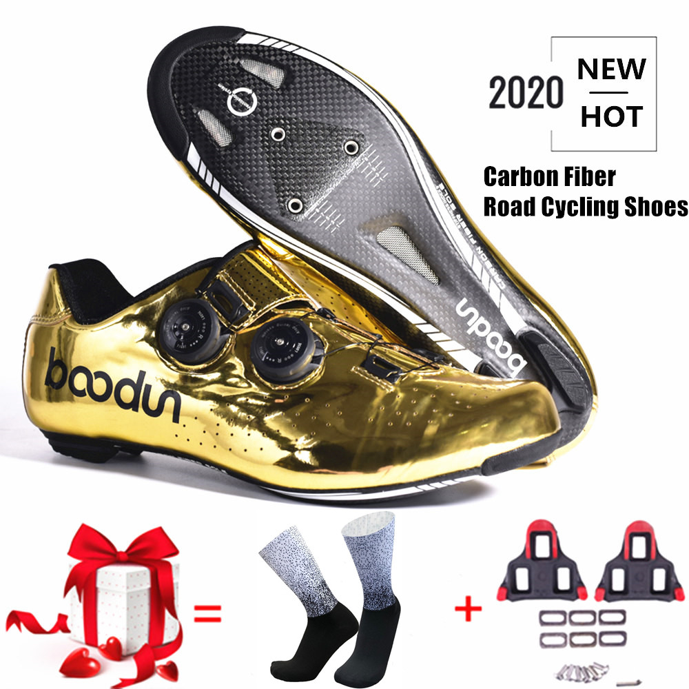 2020 New Tyrant Gold Road Cycling Shoes Road Bike Self-Locking Shoes Carbon Fiber Ultralight Professional Bicycle Racing Shoes