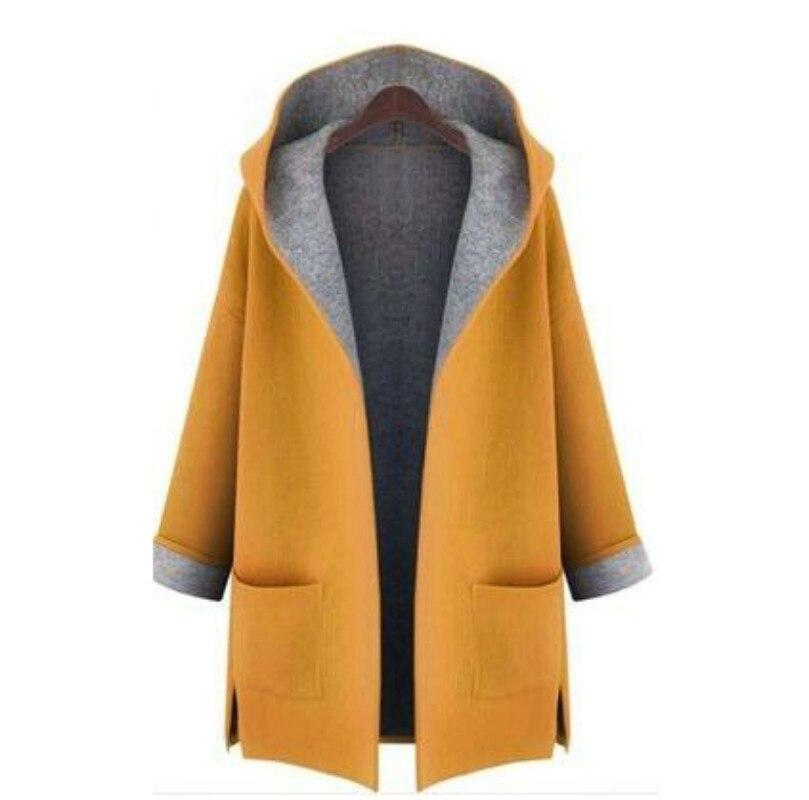 XUXI Women Autumn Winter Thin Coat Fashion Loose Wool Mixing Short Windbreaker Female Long Sleeve Red Yellow Overcoat FZ798