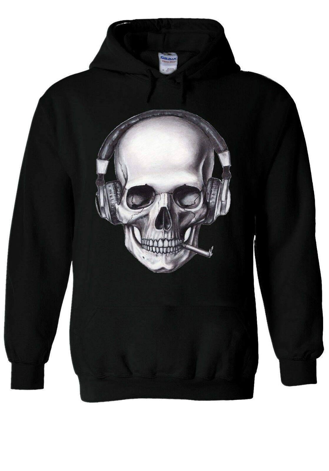DJ Skeleton Skull Smoking Music Hoodie Sweatshirt Jumper Men Women Unisex 1658