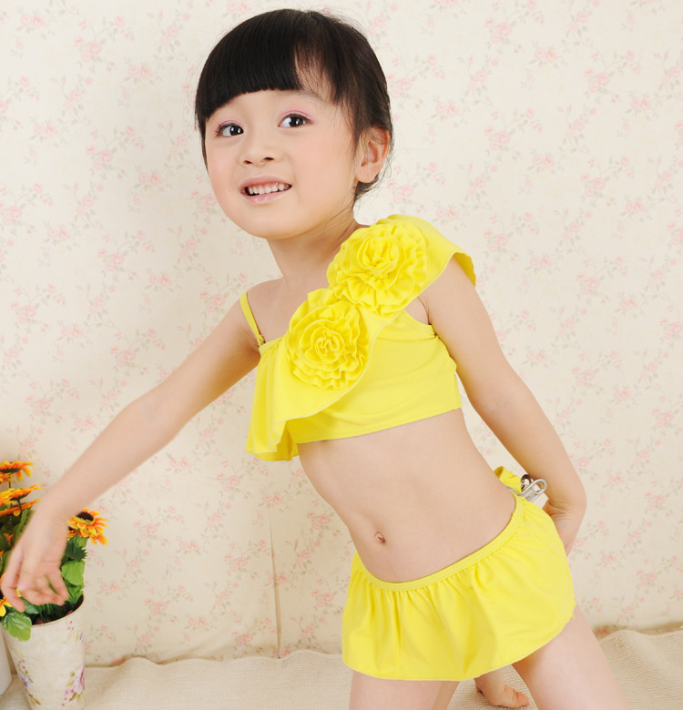 Hot Selling Children Stereo Flower Bikini Two-Piece Set Baby Girls Bathing Suit Kids Like Swimwear