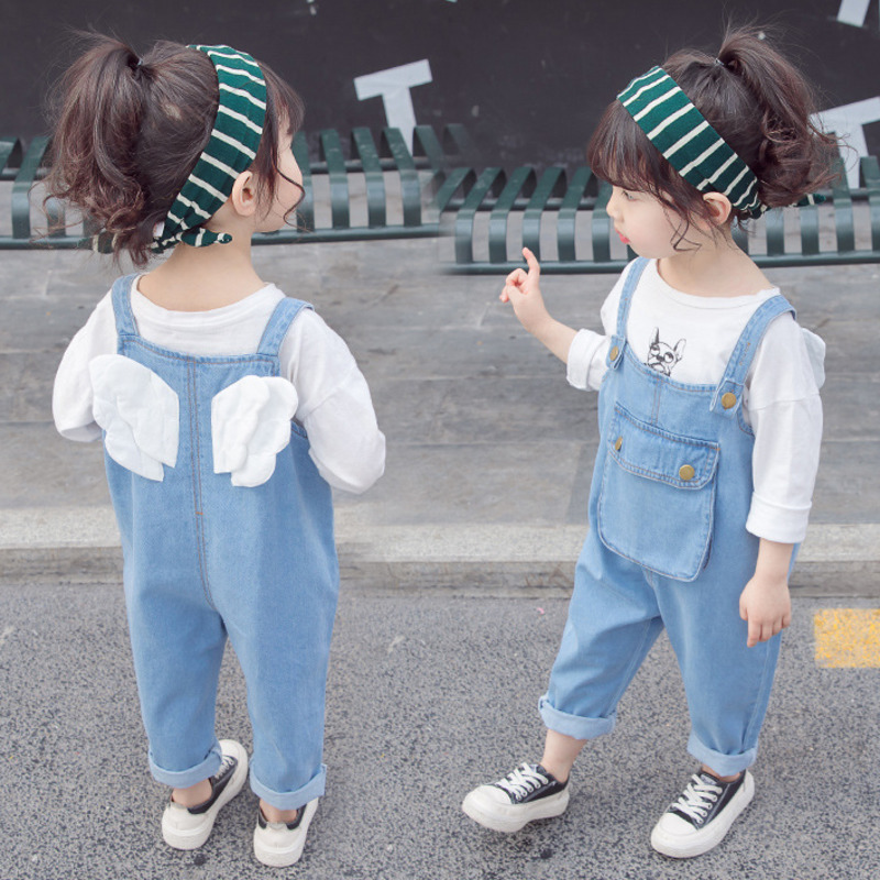 2020 New Girls Fashion Denim Overalls Cute Wings Pocket Jeans For Little Girls 1-5 Years Old Children's Clothing Pants Brand