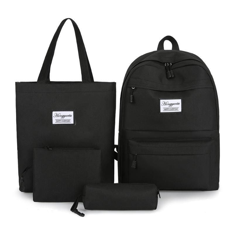4pcs/set Durable Women Nylon Waterproof Large Capacity Backpack Fashion Casual Pen Case Solid Color Shoulders Bags Clutch