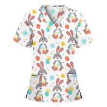 2021 Summer Women Cartoon Print Short Sleeve Nursing Tops Working Nurse Uniform Casual T-Shirts Scrubs Women Spa Salon Uniforms
