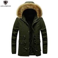 Aolamegs Winter Jacket Men Solid Color Hooded Down Jacket Thick Men Fur Collar Cargo Parka Plus Velvet Drawstring Winter Coat