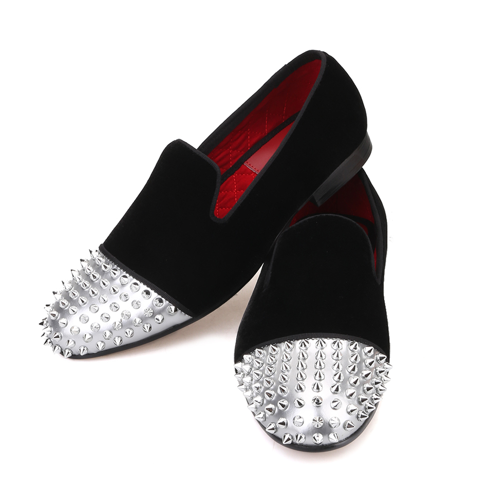 Piergitar/Мужская бархатная обувь ручной работы из лакированной кожи с заклепками, вечерние мужские повседневные лоферы, мужские тапочки для ку... - 5