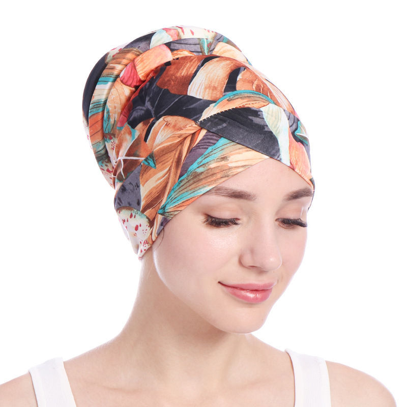Fashion Print Floral Muslim Turban For Women Inner Hijabs Cotton Arab Indian Hijab Underscarf Caps Ready To Wear Turbante Mujer
