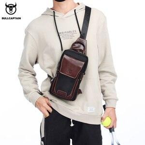 Image 2 - BULLCAPTAIN الساخن الرجال الأولى طبقة جلد البقر عارضة الأزياء الصدر حقيبة بحزام حقيبة رجالية على حقيبة كتف الرجال حقيبة صدر للرجال