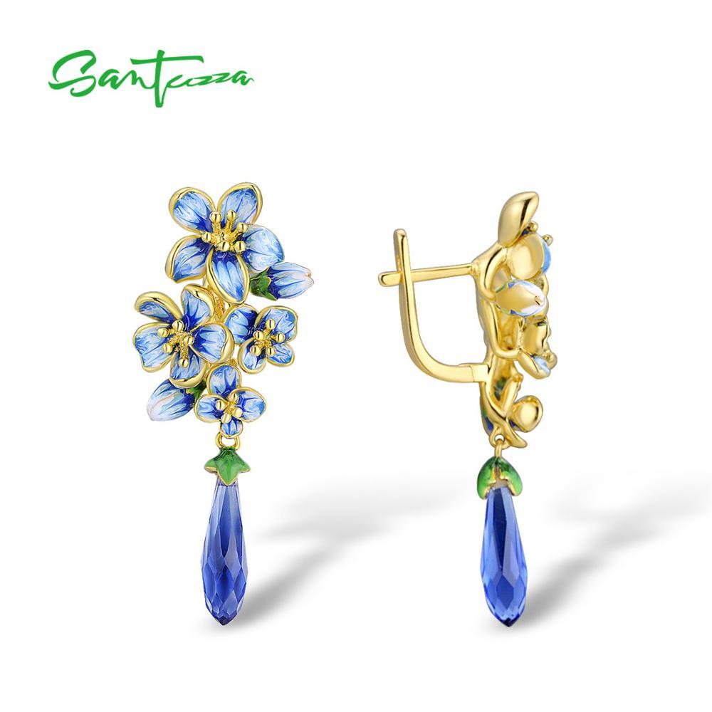 SANTUZZA Silver Earrings For Women 925 Sterling Silver Gold Color Exquisite Flowers Drop Earrings Fine Jewelry Handmade Enamel