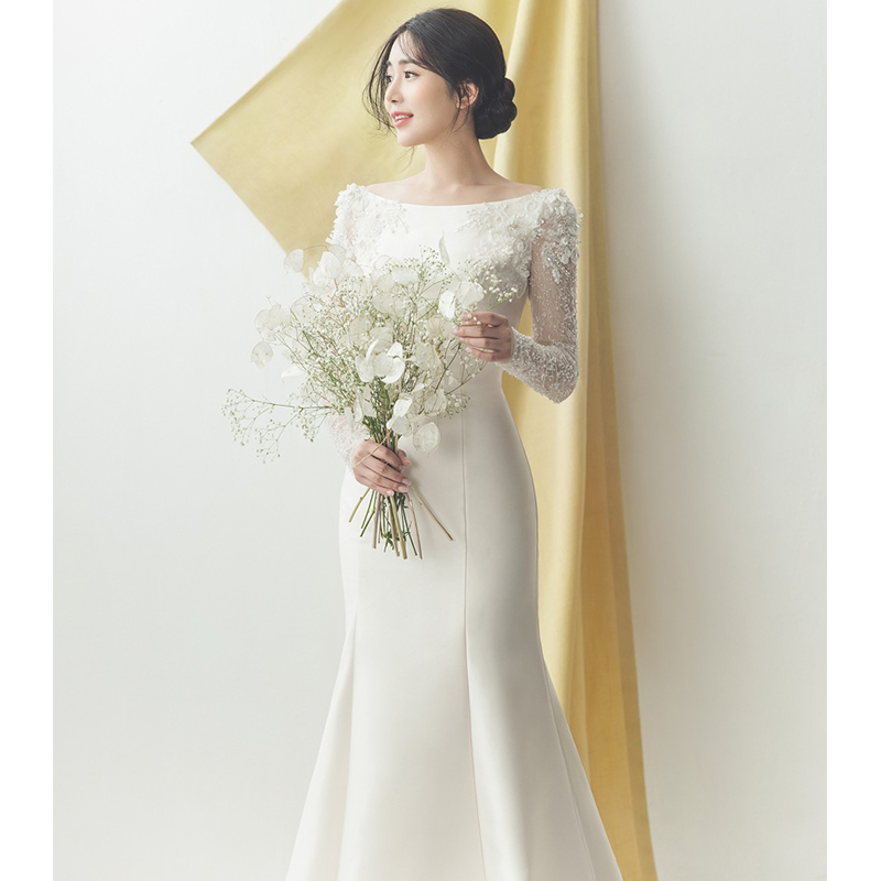 Elegant Satin Wedding Dresses 2019 Long O Neck Mermaid Korea Bride Dresses Wedding Gowns