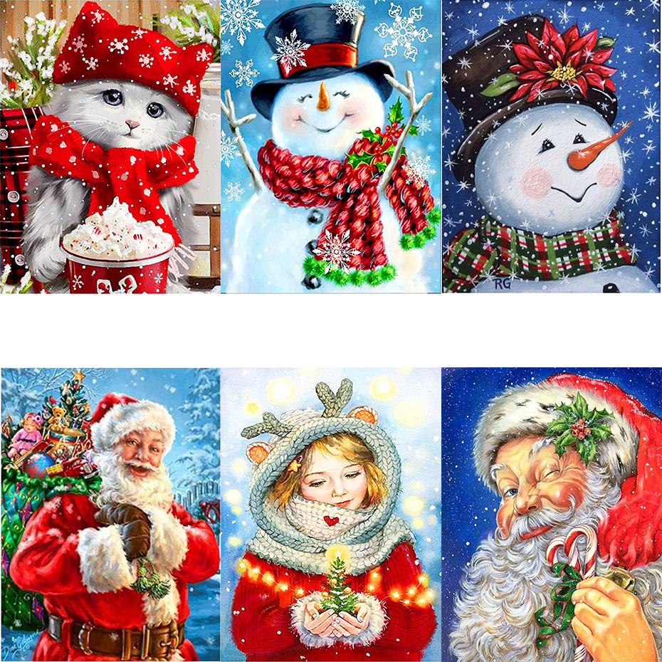 tapb Christmas Snowman Santa Claus DIY Oil Painting By Numbers HandPainted On Canvas Home Wall Art Decor Gifts-0