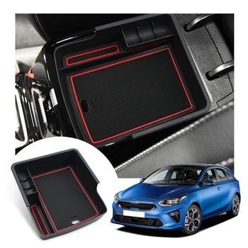 RUIYA Car Armrest Storage Box For Ceed GT 2018 2019 2020 Central Control Armrest Box Auto Interior Accessories Red Black