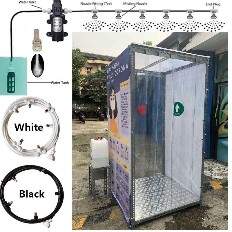 Rociador de niebla para cabina esterilizador exterior soporte nebulizador y refrigeración para exteriores desinfectante Spray niebla máquina T conector boquilla