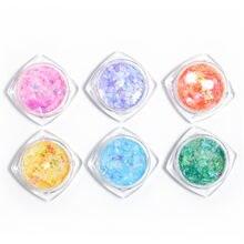 6 цветов дизайн ногтей кленовый лист пайетки Цветной Красочный