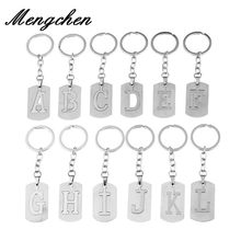 Capital Letter Separable Stainless Steel Pendant Leather Keychains Charm Bag Hang Car Keyring 26 Letters Series Gift(China)