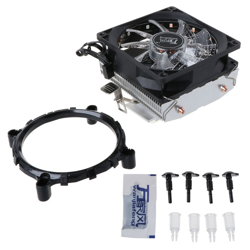 CPU <font><b>Cooler</b></font> 2 Copper Heat Pipes 3Pin CPU Cooling Fan with 5 Colors Light for LGA 1151/1155/<font><b>1156</b></font>/AM2+/AM3+/AM4 image