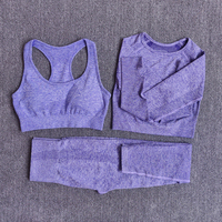 3pcsSetPurple - Women Seamless Yoga Set Fitness Sports Suits