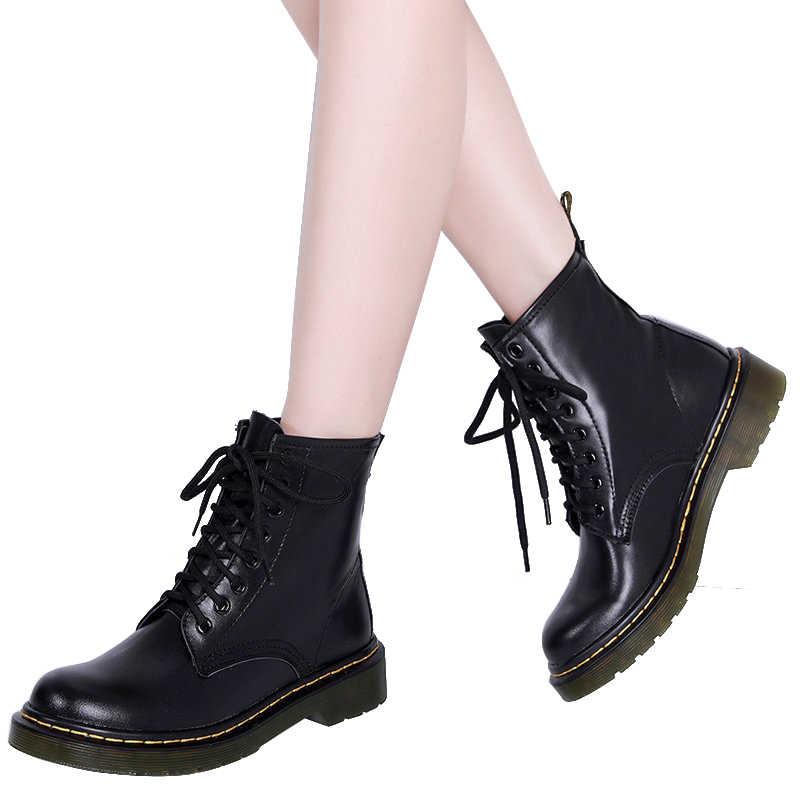 Martin รองเท้าผู้หญิง DR รองเท้าที่มีคุณภาพสูงแยกหนังรถจักรยานยนต์รองเท้าฤดูใบไม้ร่วงฤดูหนาวรองเท้าผู้หญิงขนาด 34-46