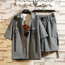 Mens Shorts + Shirt Suits Men 2 Pieces Sets  2020 Summer Stripe Tracksuit Sportswear Set Male  Fitness Cotton Blends Cargo Sets bold stripe cotton blends mens chest pocket shirt