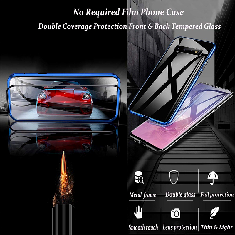 360 Metal Magnetic Adsorption Phone Case For Samsung Galaxy S8 Case S9 S10Plus Note 8 9 M20 30 A10 A50 Full Tempered Glass Cover