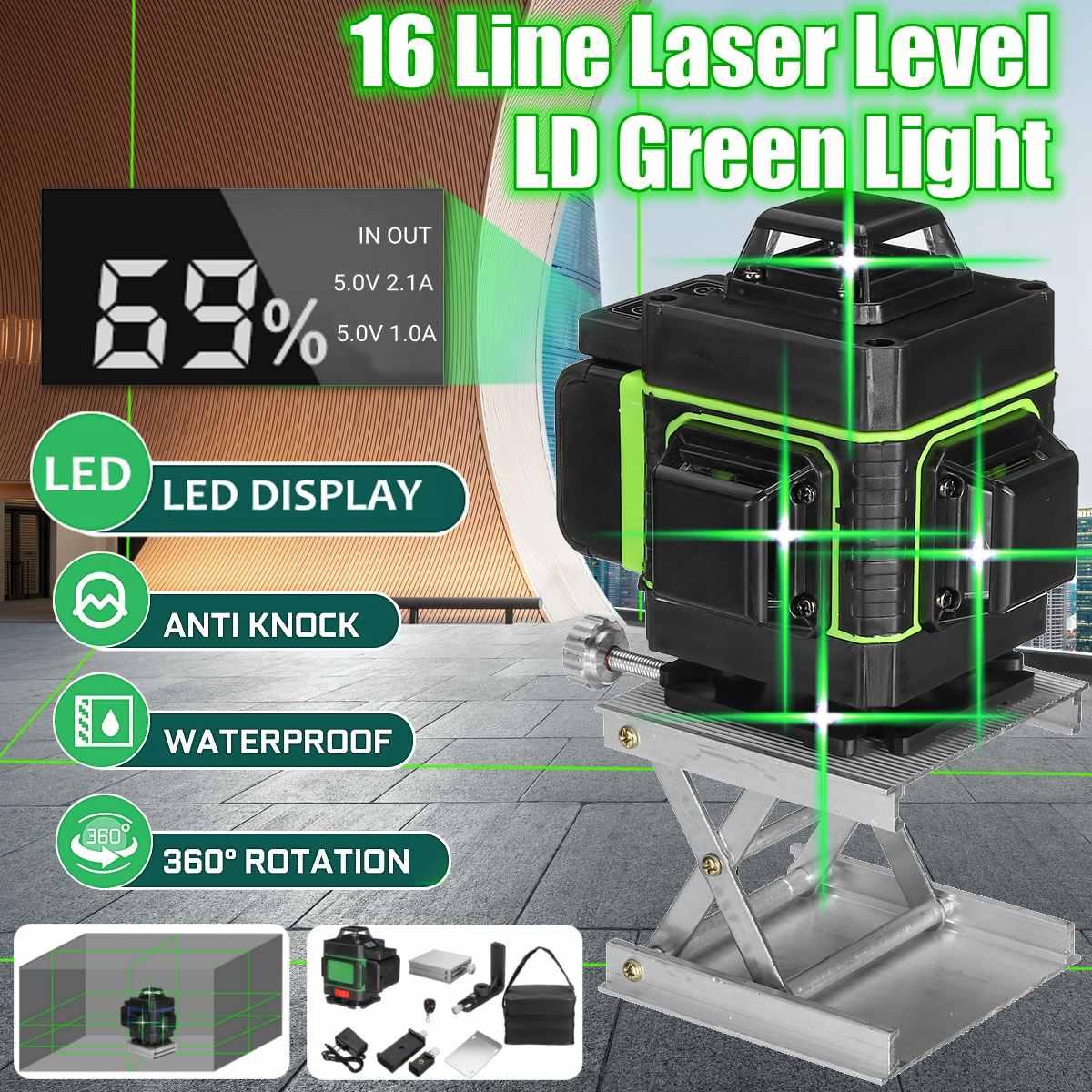 16 линий лазерный уровень 3D самонивелирующийся 360 горизонтальный и вертикальный крест супер мощный зеленый лазерный луч линии измерительны...