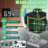 16 Lines Laser Level 3D Self-Leveling 360 Horizontal And Vertical Cross Super Powerful Green Laser Beam Line Measurement Tools