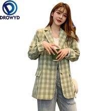 Женский блейзер в зеленую клетку свободный винтажный с длинным