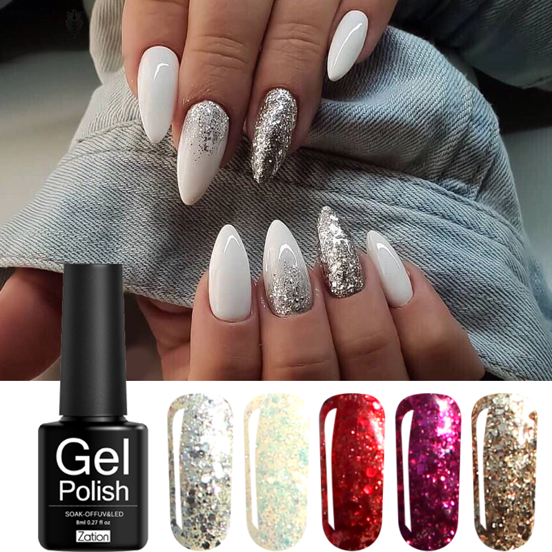 Zation 3D Diamond Nail Gel Gold Color Glitter Sliver UV Gel Nail Polish Sparkles Varnish Hybrid Soak Off Sequins Nail Art DIY