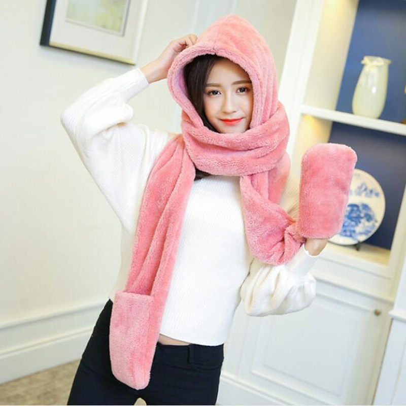 3 In 1 Women Winter Hood Scarf Hat Glove Set Warm Soft Snood Pocket Hooded Srarves Women 2019 Fashion Scarf Hat Glove For Girl