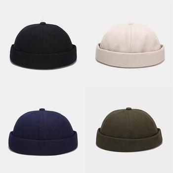 New Spring Brimless Hats Hip Hop Beanie Skullcap Street Knitted Hat Women Men Acrylic Casual Solid Pumpkin Portable Melon Cap