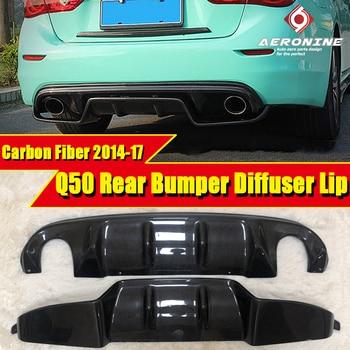 Q50 carbon fiber hinten diffusor lip Fahrt Stil Passt Für Infiniti Q50 sport stoßstange Hinten Bumper Spoiler Hinzufügen auf Auto-Styling 2015-17